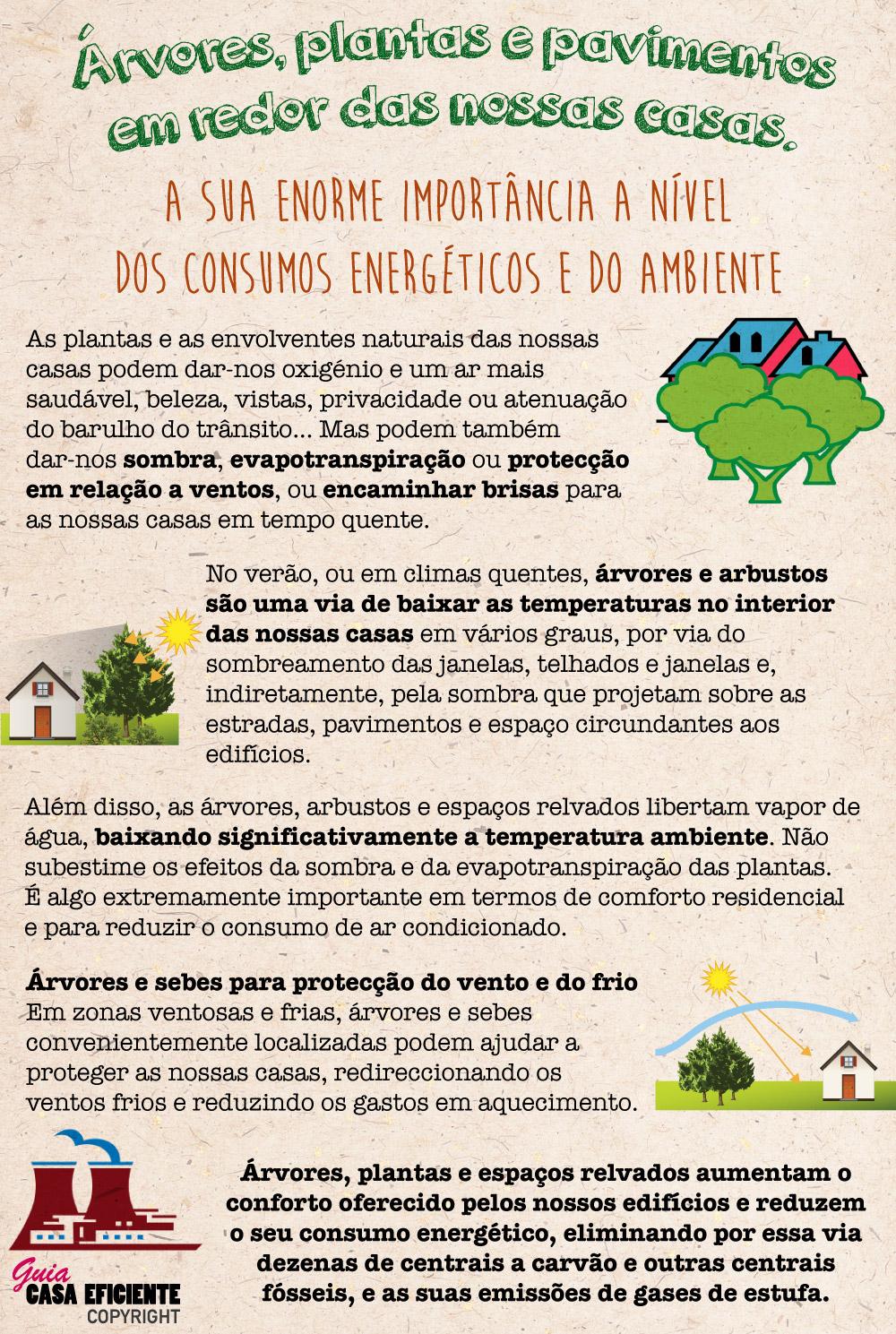 Árvores, plantas e pavimentos junto às nossas casas